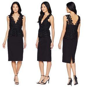 Bardot Black Valencia Peplum Lace Pencil Dress